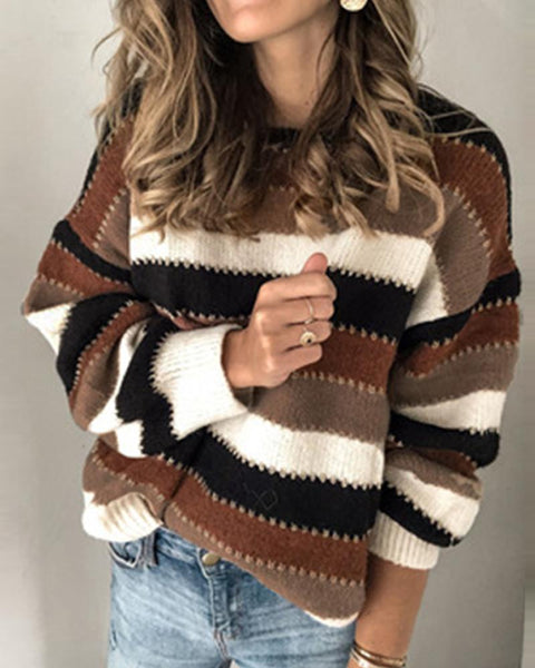 Retro Striped Round Neck Sweater