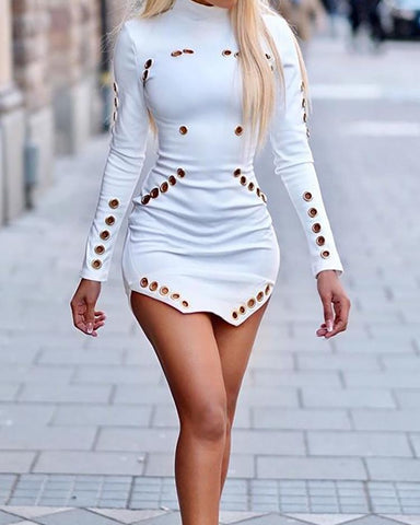 Grommet Hollow Out Slit Bodycon Dress