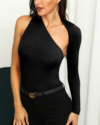 Solid One Shoulder Cutout Bodysuit