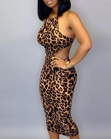 Halter Cut Out Waist Leopard Bodycon Dress