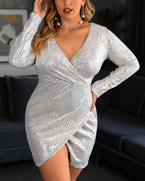 Plus SIze Sequins Long Sleeve Bodycon Dress