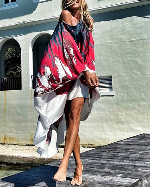 Tie Dye One Shoulder Loose Maxi Dress