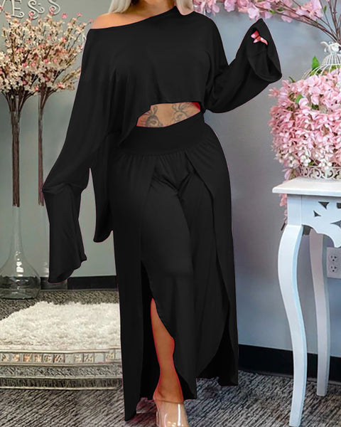 Long Sleeve Top & High Waist Slit Pants Set