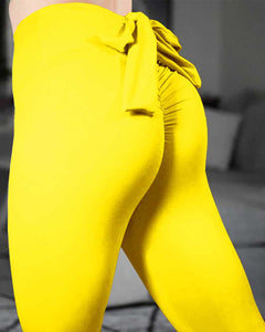 Tied Detail Bowknot High Waist Butt Lift Stretchy Yoga Pants