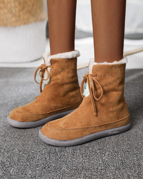 Lace-up Round-toe Solid Color Fluffy Boots