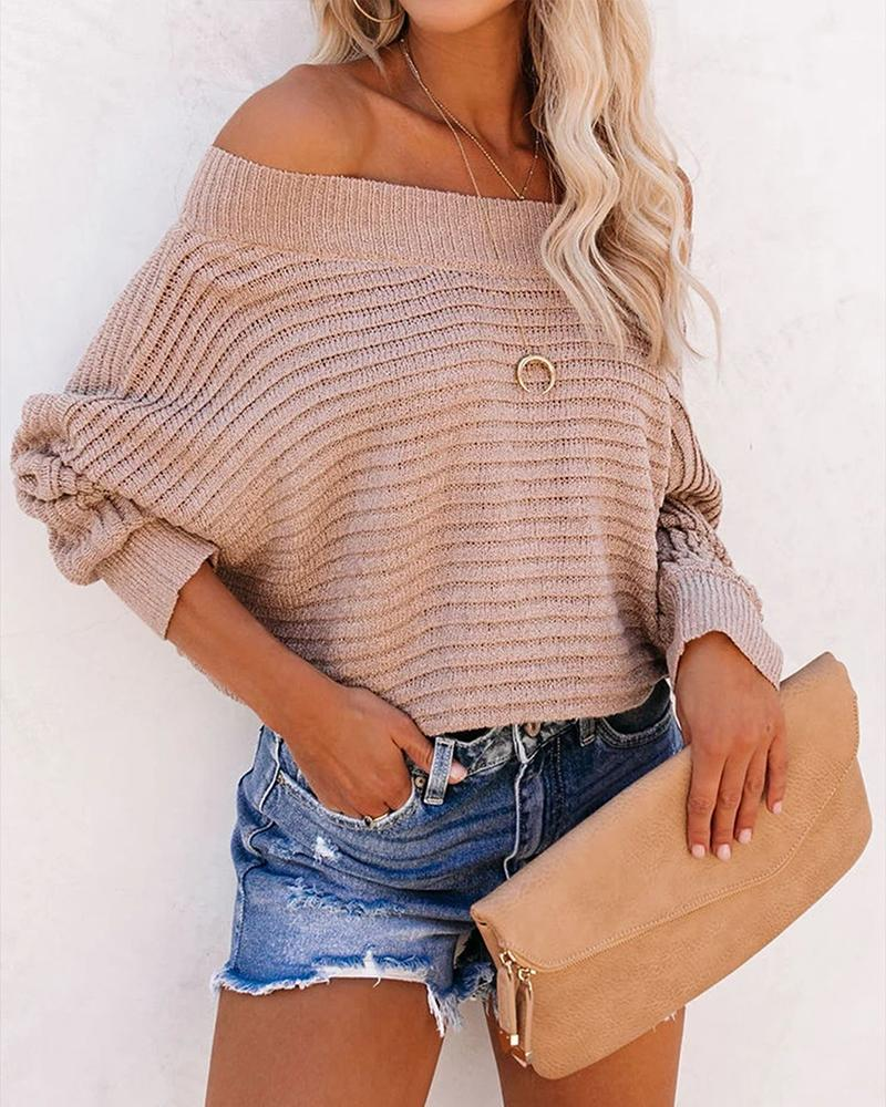 Solid Long Sleeve Loose Blouse Sweater