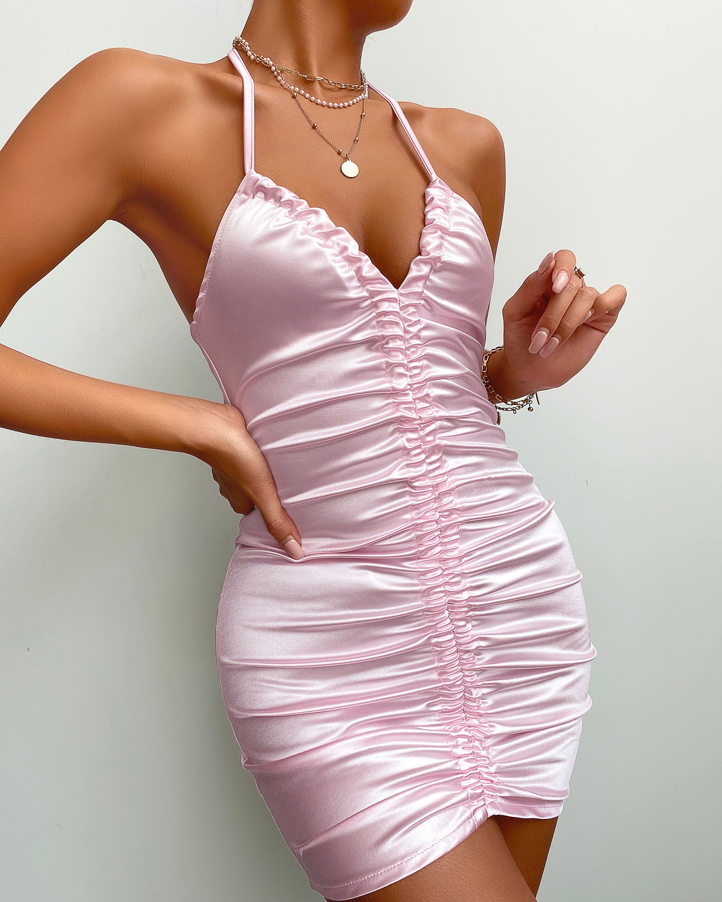 Halter Ruched Backless Satin Bodycon Dress