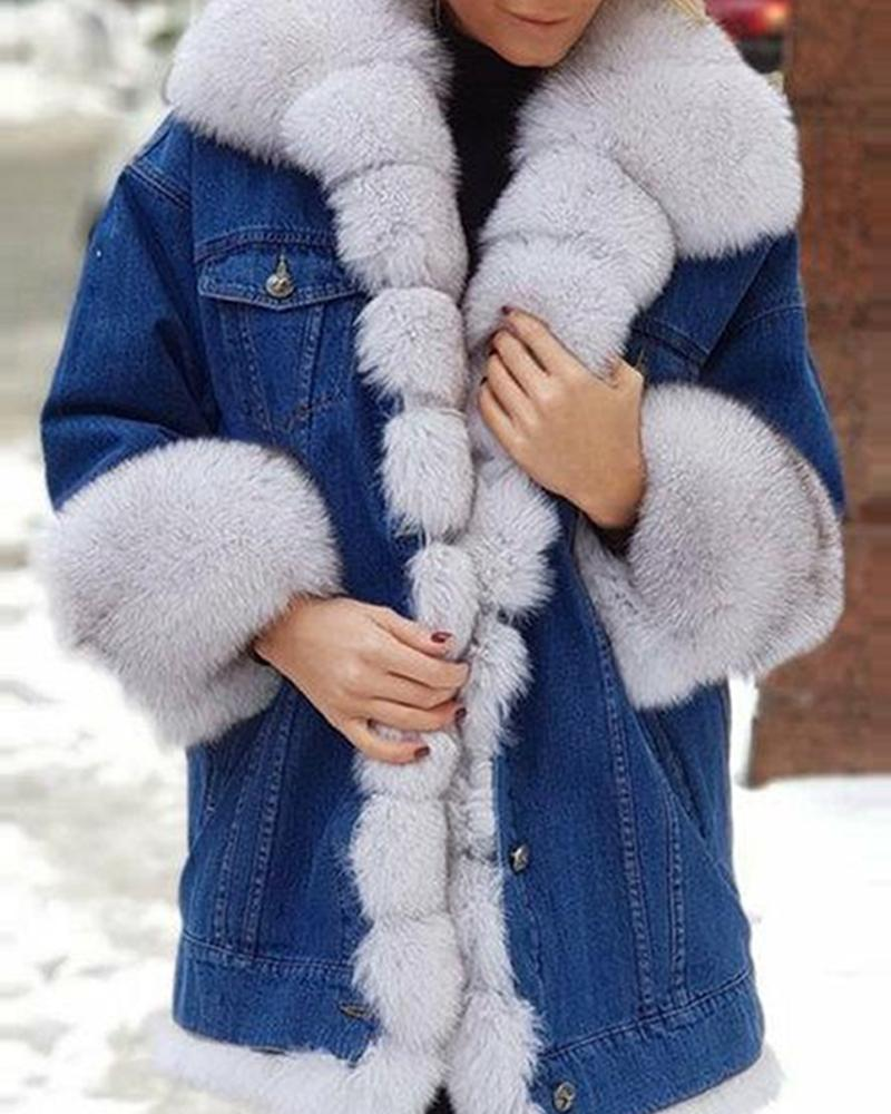 Colorblock Faux Fur And Denim Long Sleeve Coats