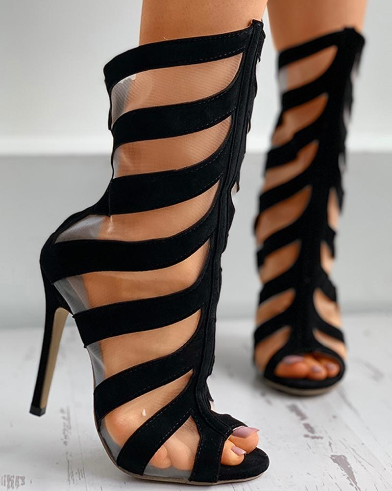 Sheer Mesh Striped Closer Toe Stiletto Heel