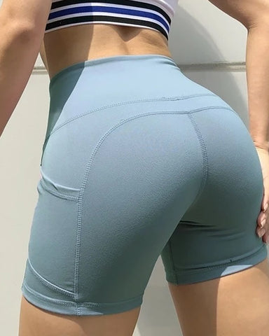 High Waist Side Pockets Yoga Shorts