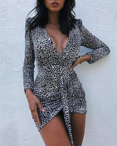Plunge Leopard Print Long Sleeve Bodycon Dress