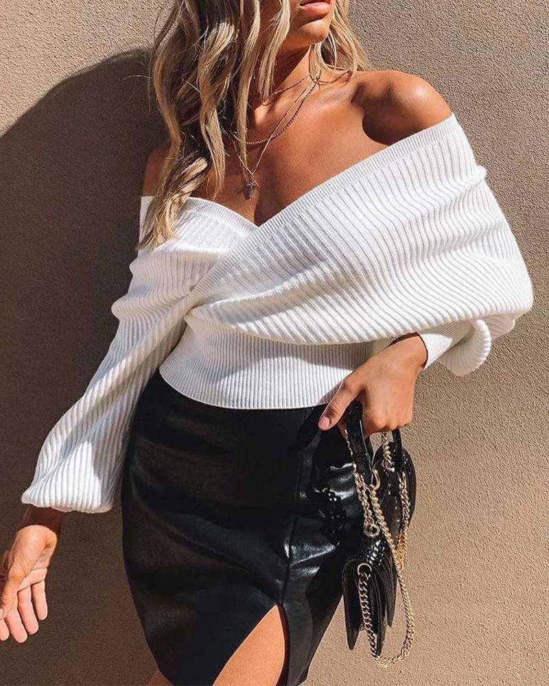 Deep V Ribbed Dolman Sleeve Sweater