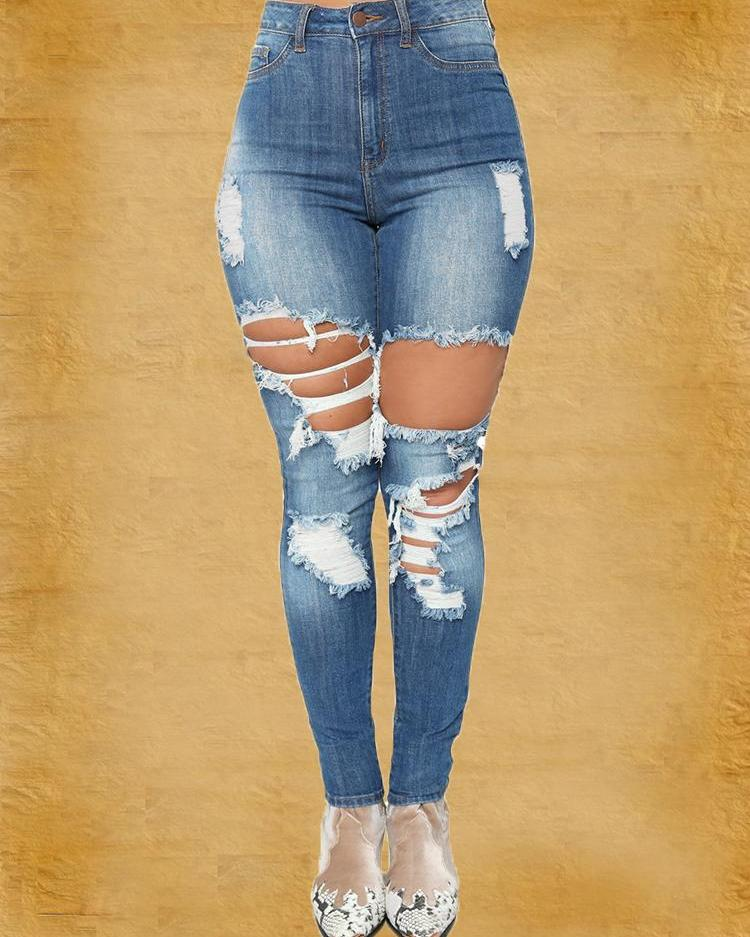 Cutout Fringes Distressed Pencil Jeans