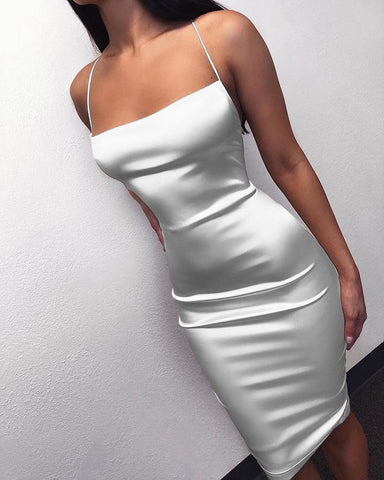 Spaghetti Strap Crisscross Backless Dress