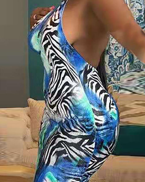 Open Back One Shoulder Print Bodycon Dress