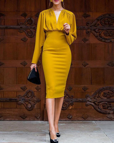 Draped Ruched Bodycon Midi Dress