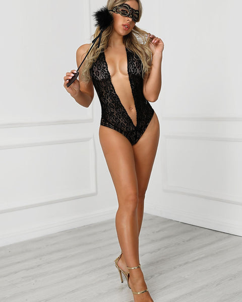 Lace Sheer Crochet Teddy Bodysuit
