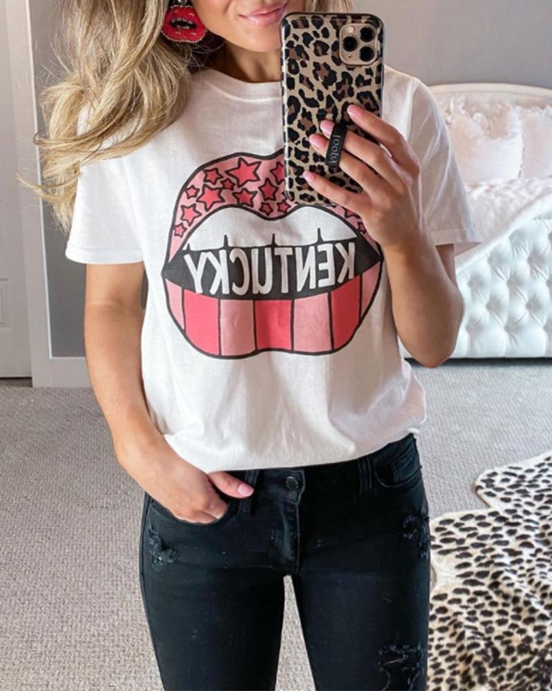 Kentucky Lip Print T-Shirt