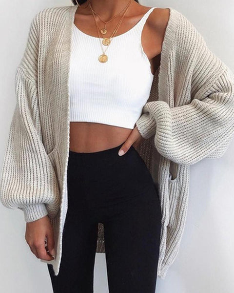 Solid Long Sleeve Bubble Sleeve Loose Cardigans