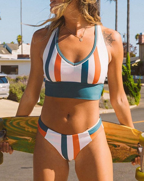 Multicolor Striped Sleeveless 2-Piece Bikini Sets