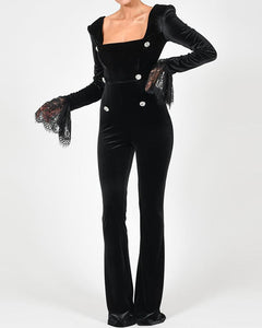 Splicing Lace Solid Color Long Sleeve Velvet Jumpsuit