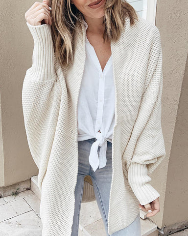 Plain Open Front Long Sleeve Cardigan