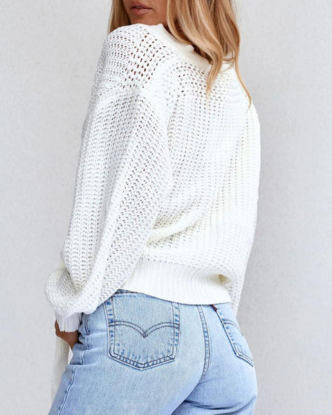 Knotted Lantern Sleeve Hollow Out Knit Sweater