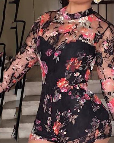 Sexy Floral Print Backless Chiffon Jumpsuit