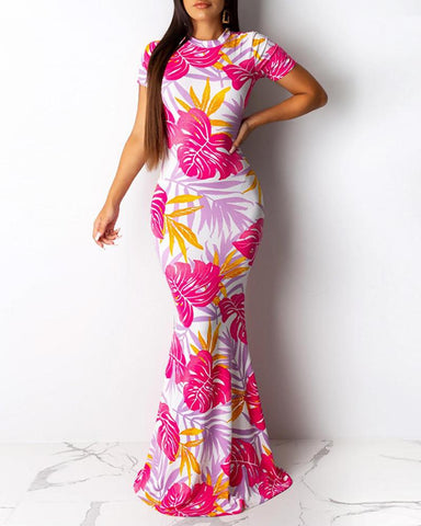 Floral Print Round Neck Maxi Ruffle Maxi Dress