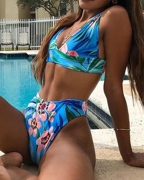 Floral Print High Leg Bikini Sets
