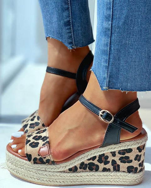 Animal Pattern Ankle Buckled Wedge Espadrille Sandals