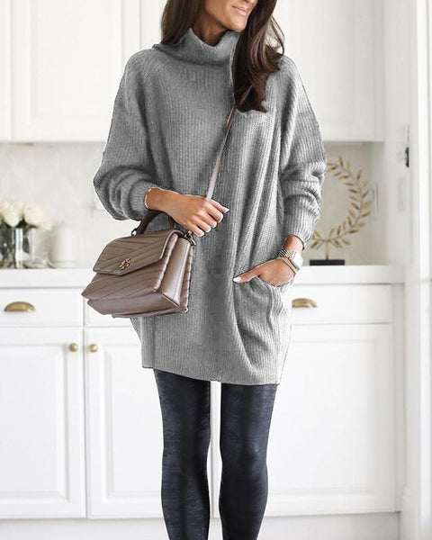 Ribbed Solid High Neck Sweater