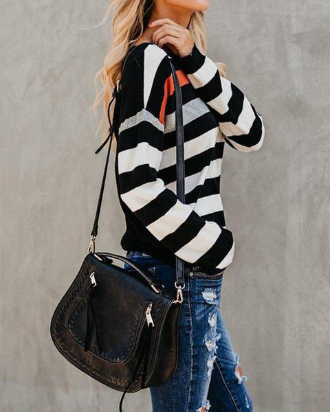 Long Sleeve Casual Striped Top
