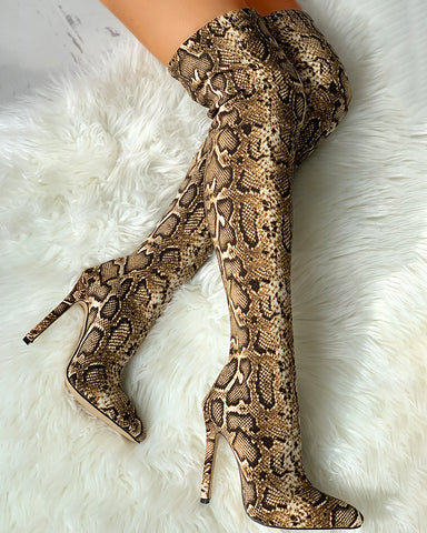 Snakeskin Print Thin Heeled Thigh High Boots
