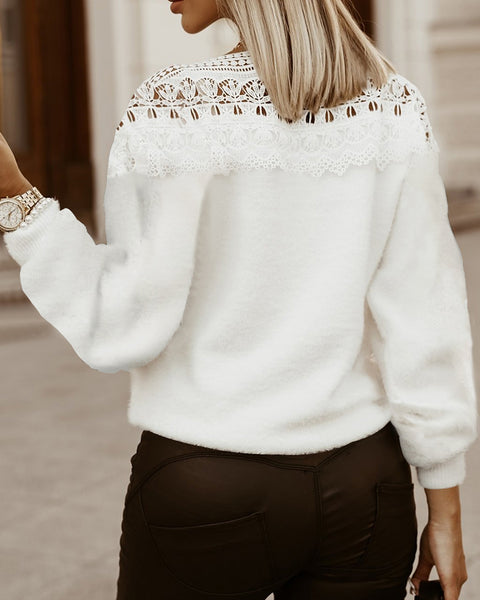 Lantern Sleeve Guipure Lace Casual Sweater
