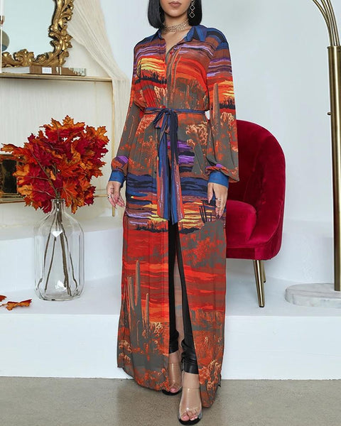 Lantern Sleeve Mixed Print Slit Longline Coat
