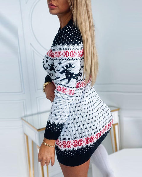 Christmas Long Sleeve Knit Sweater Dress