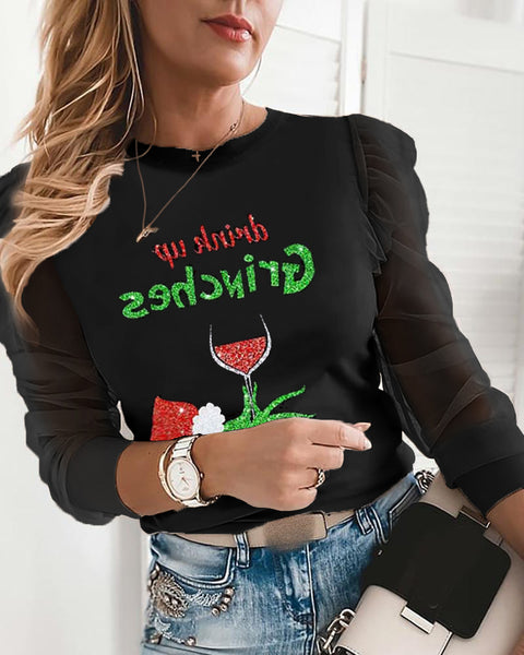 Christmas Letter Wine Glass Print Sheer Mesh Puffed Sleeve Top