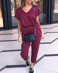 Solid Short Sleeve Loose T-shirts With Drawstring Pants Suit Sets
