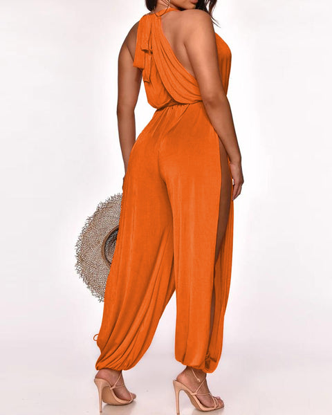 Halter Open Front High Slit Jumpsuit