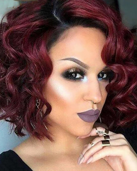 12.60 Inch Short Curly Bob Wigs Red Ombre Synthetic Hair Wigs with Free Cap