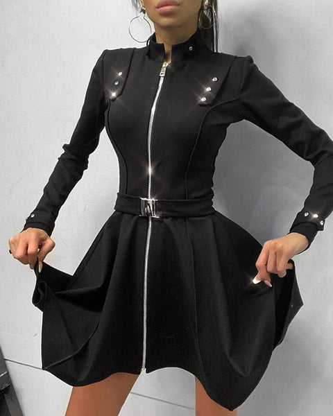 Plain Long Sleeve Skinny Zipper Design Mini Dress