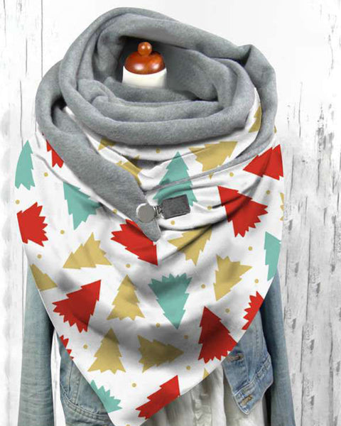 Christmas Butterfly Print Plush Scarf