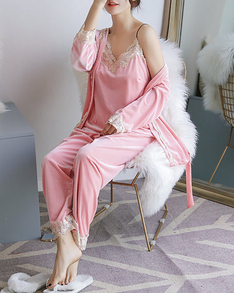 3PCS Lace Trim Velvet Pajamas Set