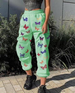 Multi-butterfly Printing Loose Harem Pants