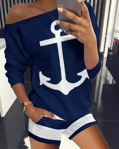 Boat Anchor Print Top & Striped Pockets Shorts Set
