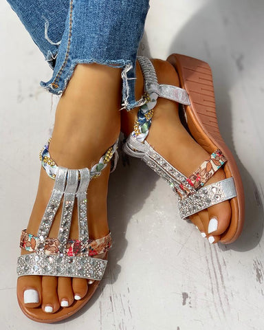 Studded Detail Ankle Strap Wedge Sandals