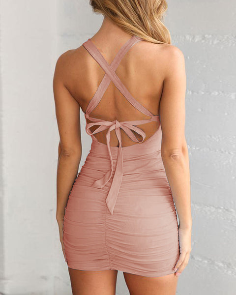 Crisscross Back Cut Out Ruched Bodycon Dress