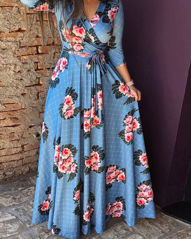 Floral Grid Pattern Belted Wrap Maxi Dress