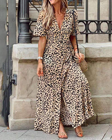 Leopard Print V Neck Maxi Dress